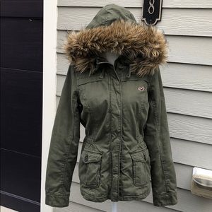 Hollister utility jacket with faux fur hood